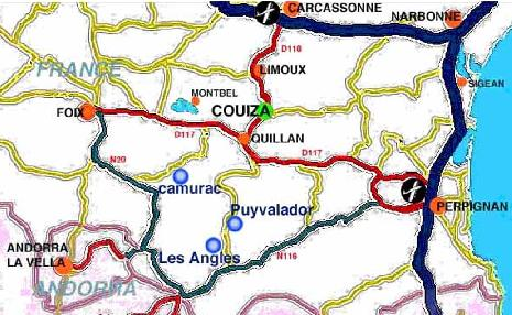 Aude map / Carte - click for info about Camurac, Puyvalador             or Les             Angles in South France